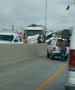 Tanker truck and Buick sedan in accident on North 610 Loop at Kirkpatrick