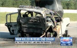 Jeep Cherokee tow truck accident Beltway 8 Houston