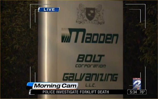 Houston Madden Bolt Galvanizing forklift worker killed accident