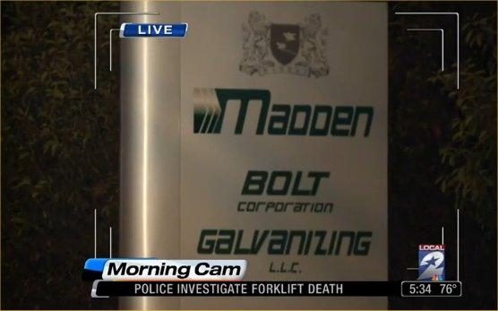 Houston Madden Bolt Galvanizing forklift worker killed accident